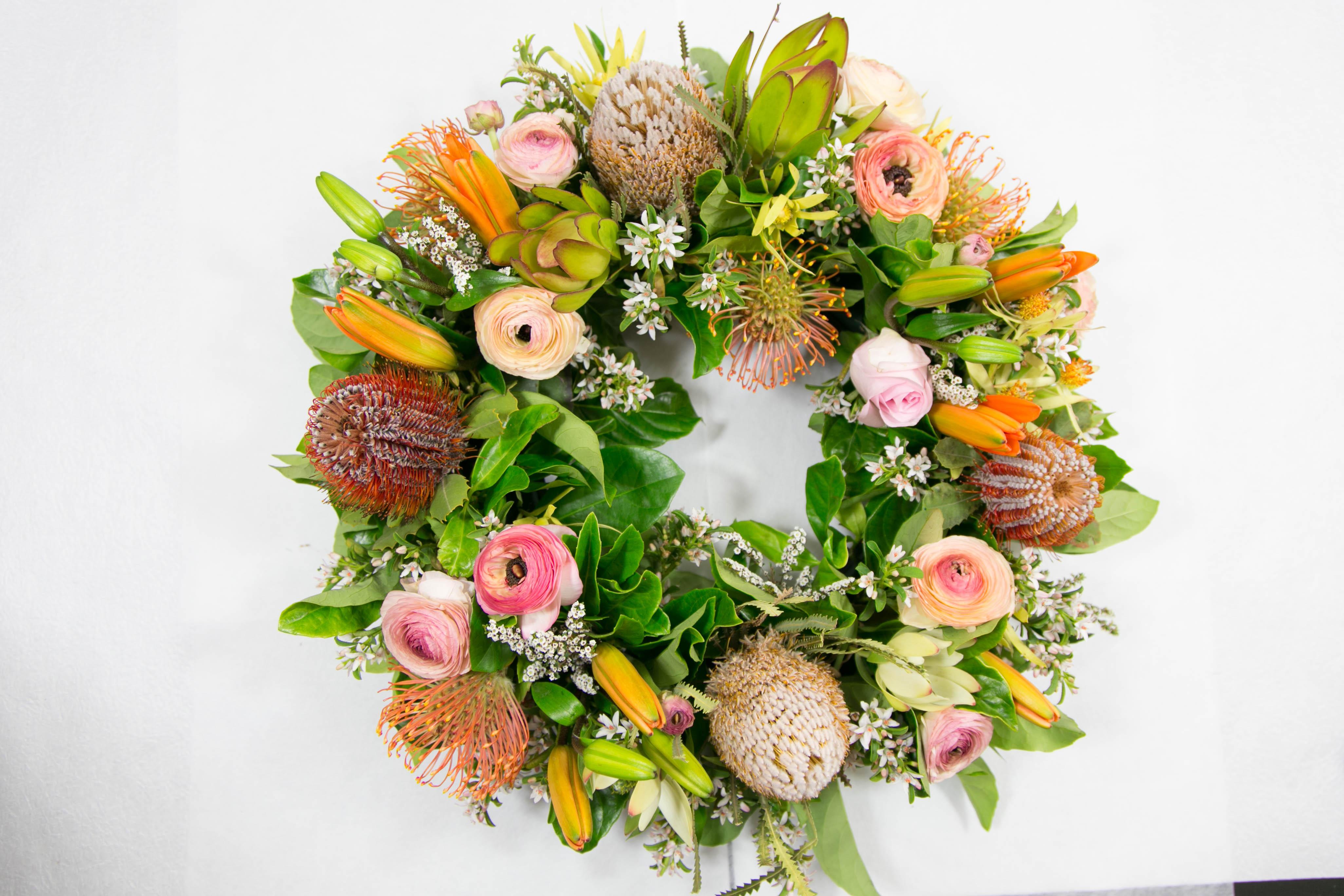 Native Blooms Wreath - peach orange tones
